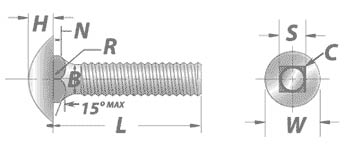 Carriage Bolts: Round Head Short Neck Dimensions