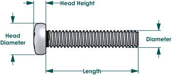 Stainless Steel Machine Screws Dimensions