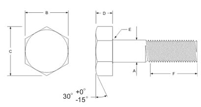 Stainless Steel Heavy Hex Structural Bolt Dimensions
